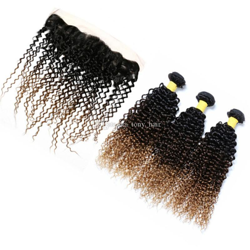 Ombre Kinky Curly Hair Bundles with Lace Frontal Closure 1B 4 27 Honey Blonde Ombre Peruvian Human Hair Weaves with 13X4 Frontal