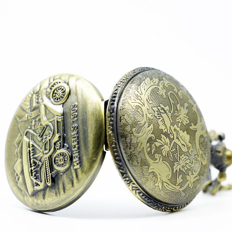 TIEDAN MARKA Yeni Varış MERCEDES Eski Araba Antik Retro Bronz Cep Adam Bayan Hediyeler için Zincir Kolye ile Saatler Fob Izle