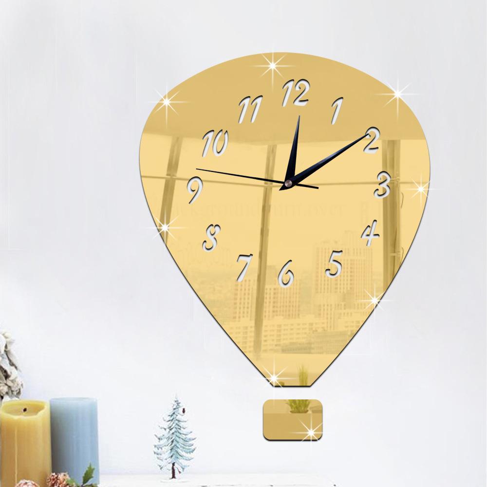 Creative Fire Balloon 3D Mirror Surface Sticker DIY Wall Clock Home Decor Wall Clock Bedroom Living/Study Room Decoration