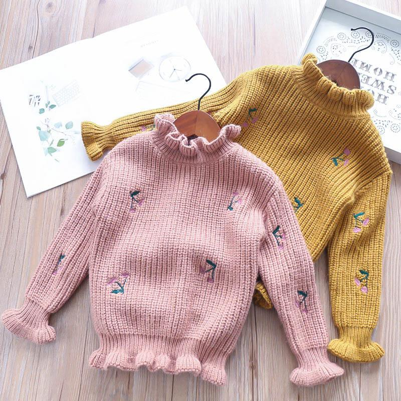 Girls Baby Embroidery Floral Crochet Knitted Sweaters Princess Pink Yellow  Color Ruffles Autumn Sweet Kids Sweater Tops