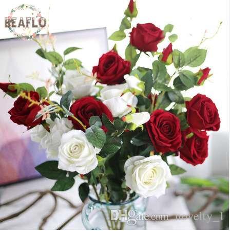 Grosshandel 1 Stuck Kunstliche 3 Kopfe Samt Rose Seidenblume Hochzeit