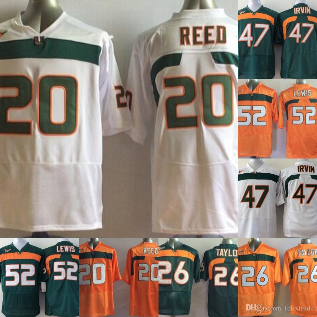 buy online 65fdb 82d23 Miami Hurricanes College Jerseys #20 Ed Reed 52 Ray Lewis Jersey ACC 26  Sean Taylor Football Jerseys Orange Green White