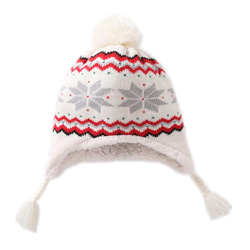 98a2a8eb1a7 2019 Baby   Kids Girls White Snowflakes Winter Fleece Earflap Beanie Hat  Children Girl Fashion Casual Knitted Warm Hat Caps From Sophine14