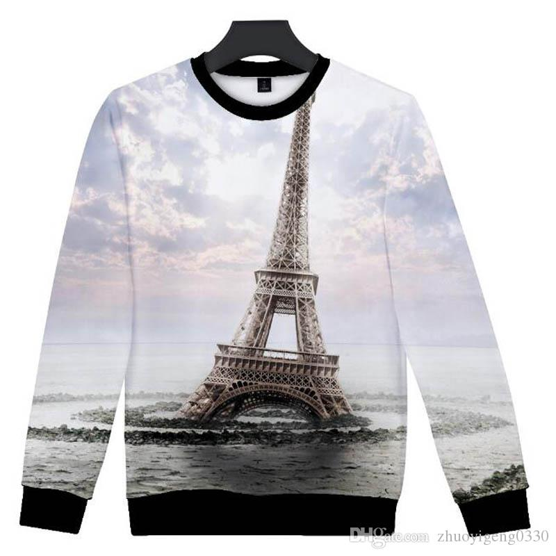 500d3221347a9e 2019 New Eiffel Tower Scenery 3D Print Sweatshirt Men Women Hoodie Casual  Long Sleeve Pullover Harajuku Streetshirt Tops From Zhuoyigeng0330