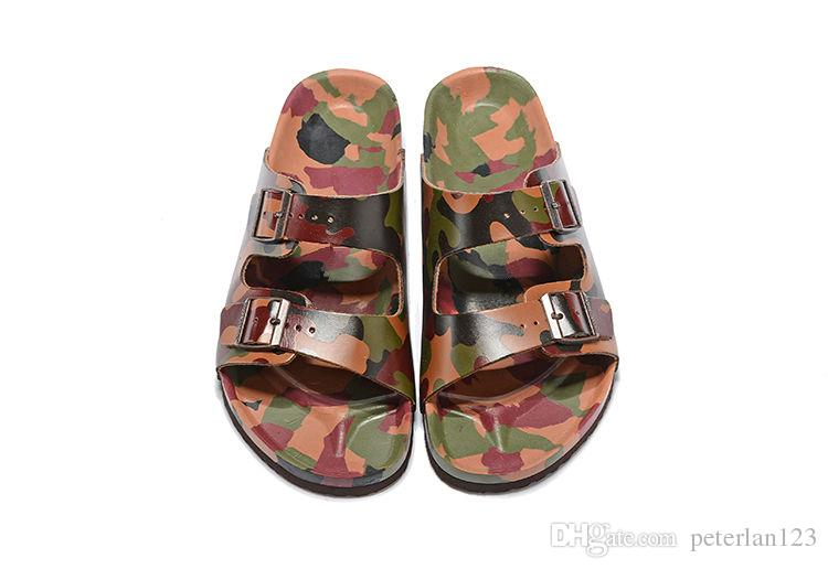 b9bb353ed6470 New Brand Men and Women Slippers camouflage and Breathble Slippers Summer  Beach Sandals Fashion Buckle Genuine Leather Casual Cool Sandals