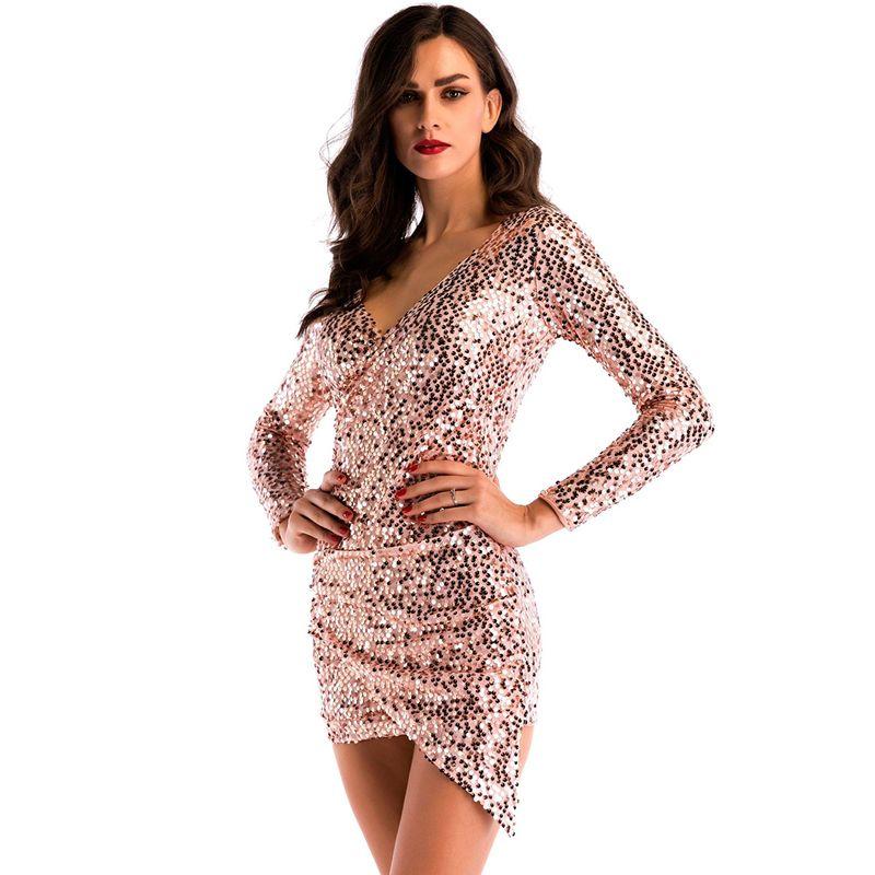 12c34f46405d 2019 New Arrival Long Sleeve Mini Asymmetric Dress Women Sexy Bling Night Club  Dress V Neck Short Bodycon Cocktail Party Dresses LJH0442 From Hhwq105, ...