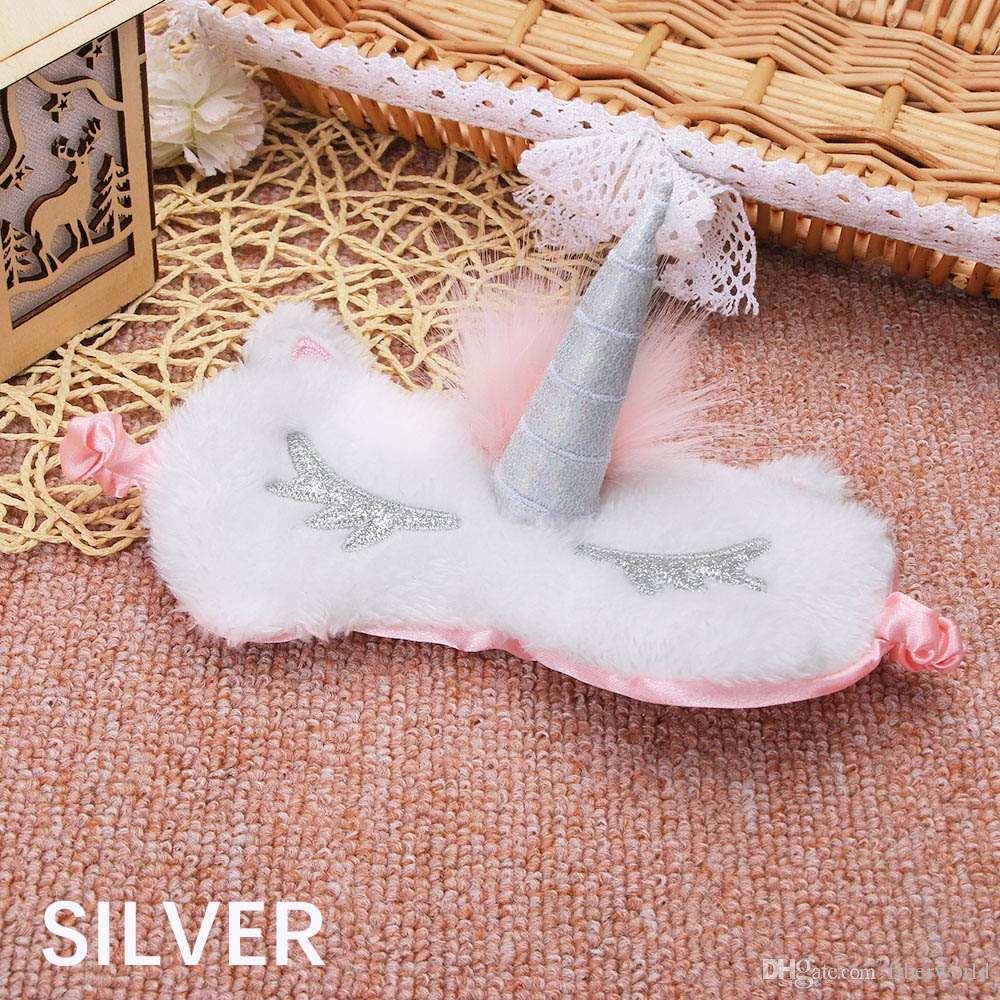 Cute Unicorn Спящего глаз Обложка мультфильм завязанного Eye Mask Тени Мягкой обложки для девушки Kid подростков путешествует сну Eyeshade Eye помощи