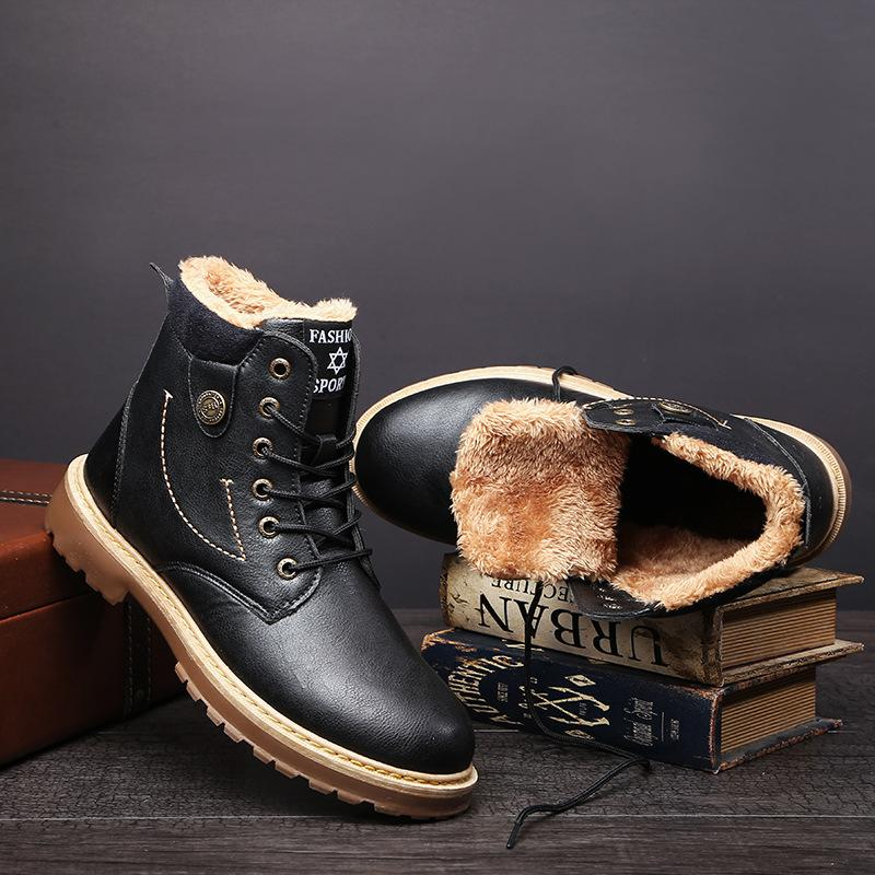 e91a271bf84 Brand Men s Boots Martens Leather Winter Warm Shoes Motorcycle Mens ...