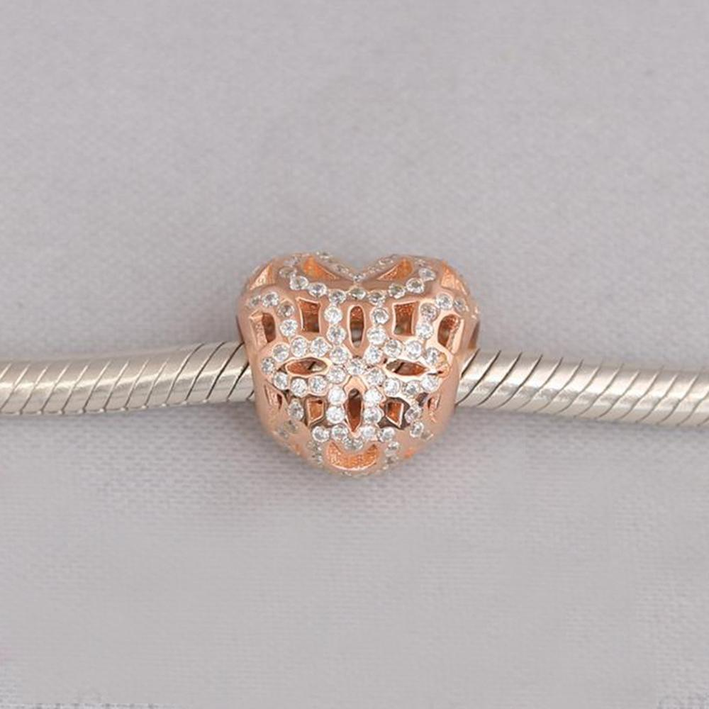 f47130d10 2019 Authentic 925 Sterling Silver Beads Rose Gold Love & Appreciation Charm,  Clear CZ Fits European Pandora Style Jewelry Bracelets From Morepandora, ...