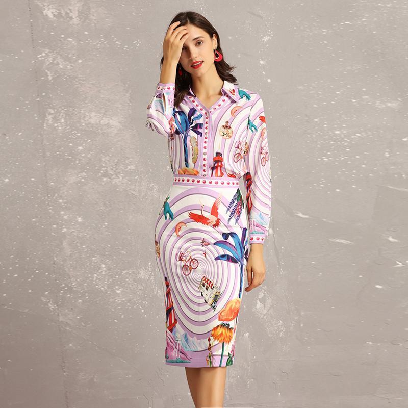0be866bc1 Nueva 2019 Primavera Verano Moda Diseñador de pista Dos piezas Conjuntos  Mujeres Paisaje de manga larga Imprimir Blusas Paquete Hip Falda Traje