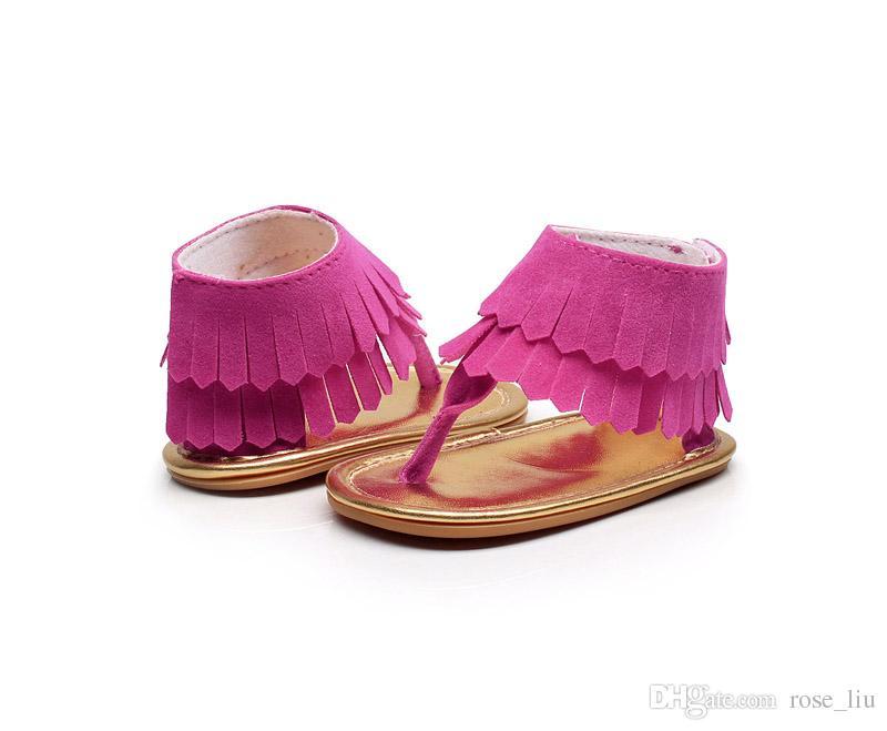 8 farbe baby ins Weiche boden sandalen 2018 Neue kinder quasten flip flops PU Infant offene spitze Sandalen baby Erste Wanderer schuhe B