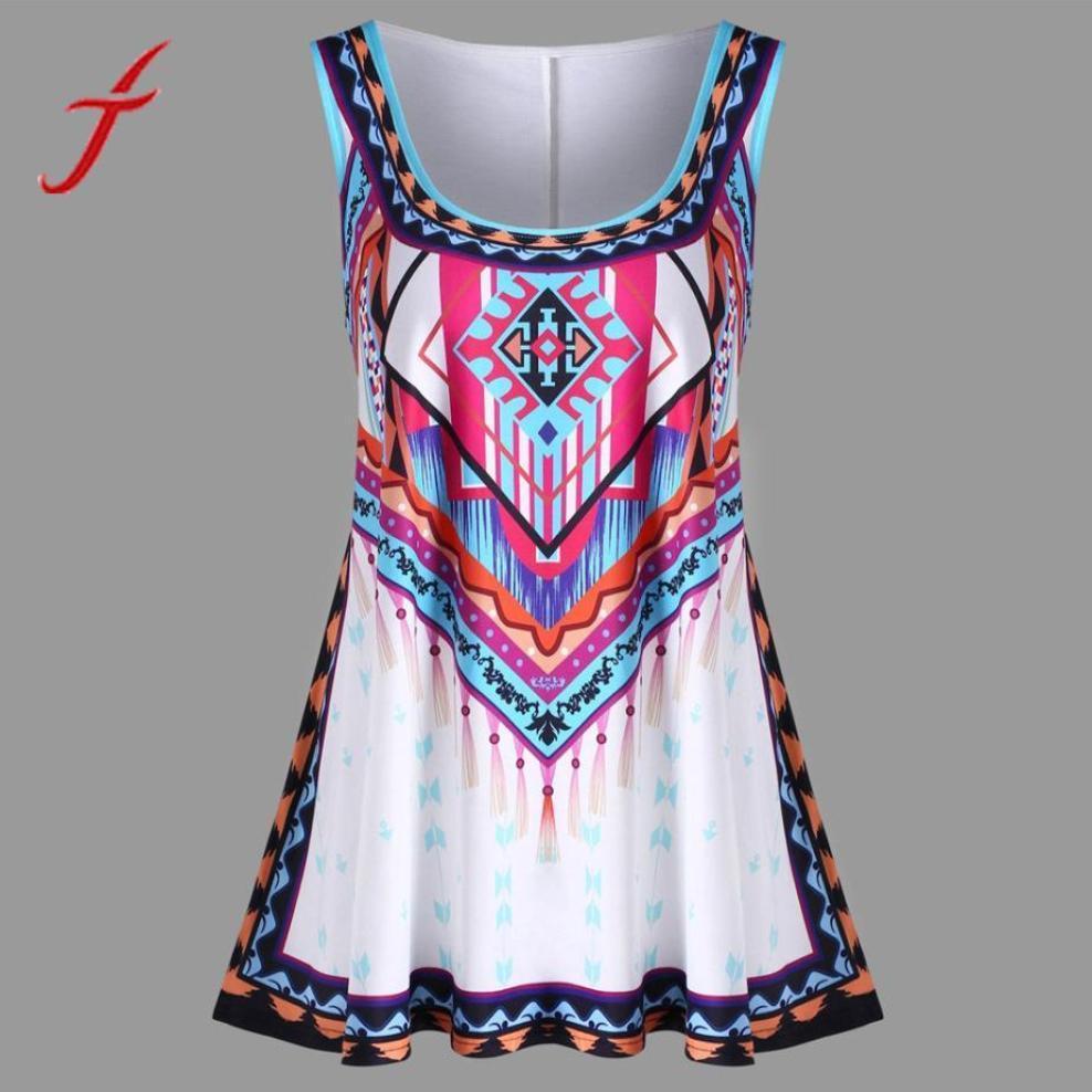 7ba896747b6 2019 FEITONG Bohemian Summer Tops Fashion Women Plus Size Colourful Print  Casual Plus Size Tank Tops Women 5XL From Dolylove