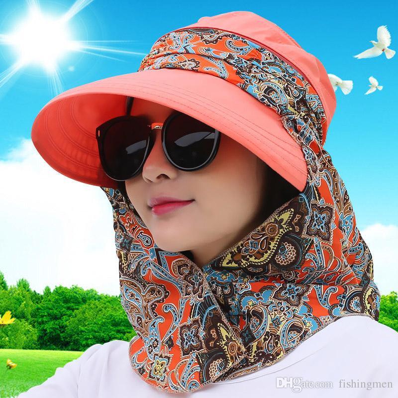 Compre Moda Uv Chapéu De Sol Verão Chapéus De Sol Para As Mulheres Chapéu  De Palha Meninas Praia Organza Cap Viseiras Tampas Multiuso Chapéu Flexível  ... b12f54b33c6