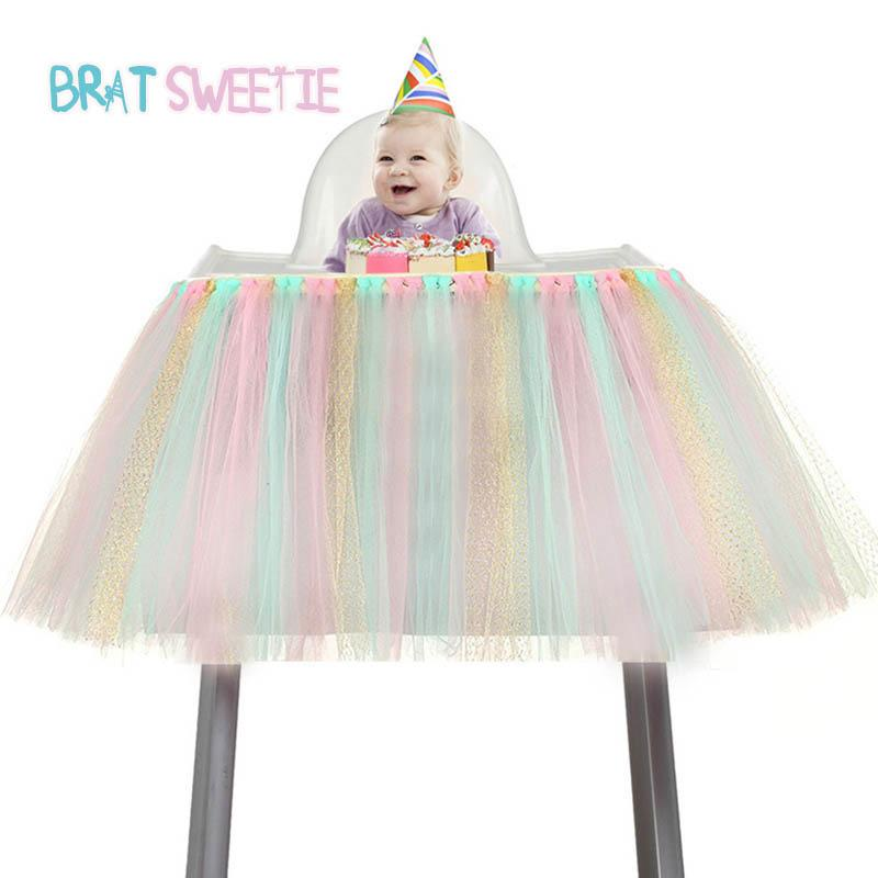 2019 1st Birthday Tutu Skirt For High Chair Decoration Kids Girls Unicorn Party Supplies Baby Shower Glitter Tulle From Zehanhome