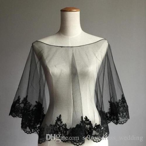 Solovedress Black Jackets for Wedding Dress Bolero shawl Ladies' Coat Custom Size Lace Appliques Edge Wedding Jacket