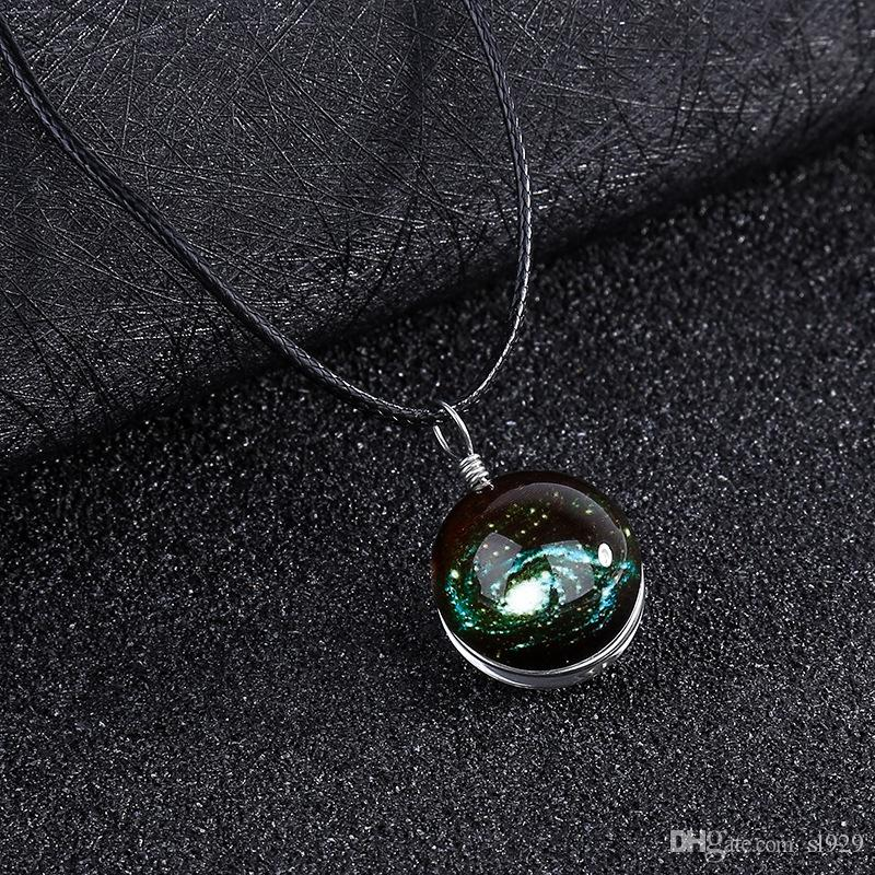 Fashion Double-Sided Glass Ball Couple Luminous Necklace Starry Sky Pendant UK