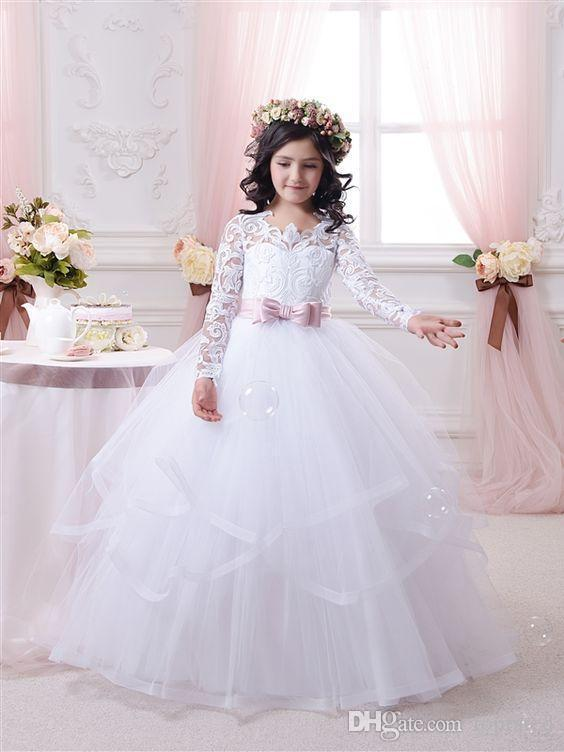 1b6e43adc62 2018 White Flower Girl Dresses For Weddings Long Lace Sleeve Girls Pageant  Dresses First Communion Dress Little Girls Ball Gowns Hot Sale Ivory Dress  Lace ...