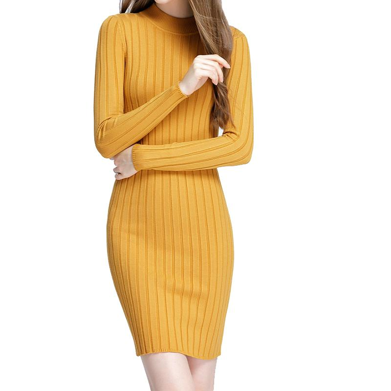 4ea87eaca206d 2019 Winter Ribbed Dress Women Elegant Long Sleeve Sexy Bodycon Dress Office  Ladies Solid Knitted Elastic Fit Mini Dresses M0118 Clothes For Black Women  ...