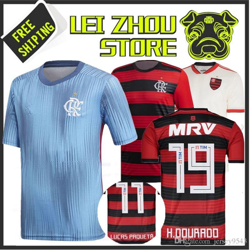 1a541c20c8 Compre 2018 Flamengo Casa Longe Branco Azul Jersey 18 19 Brasil Flamengo  Vermelho ZICO ELANO HERNANE Camisas De Futebol Camisa Esportiva Livre  Epacket De ...