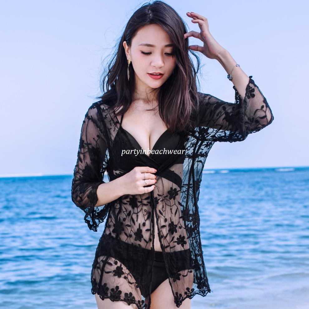 322f423007e2a Women Summer Beach Bikini Cover Ups Long Cardigan Blouses Lace Embroidery Crochet  Sunscreen Seaside Hollow Holiday Shirts Swimwear Beachwear Beach Cover Ups  ...