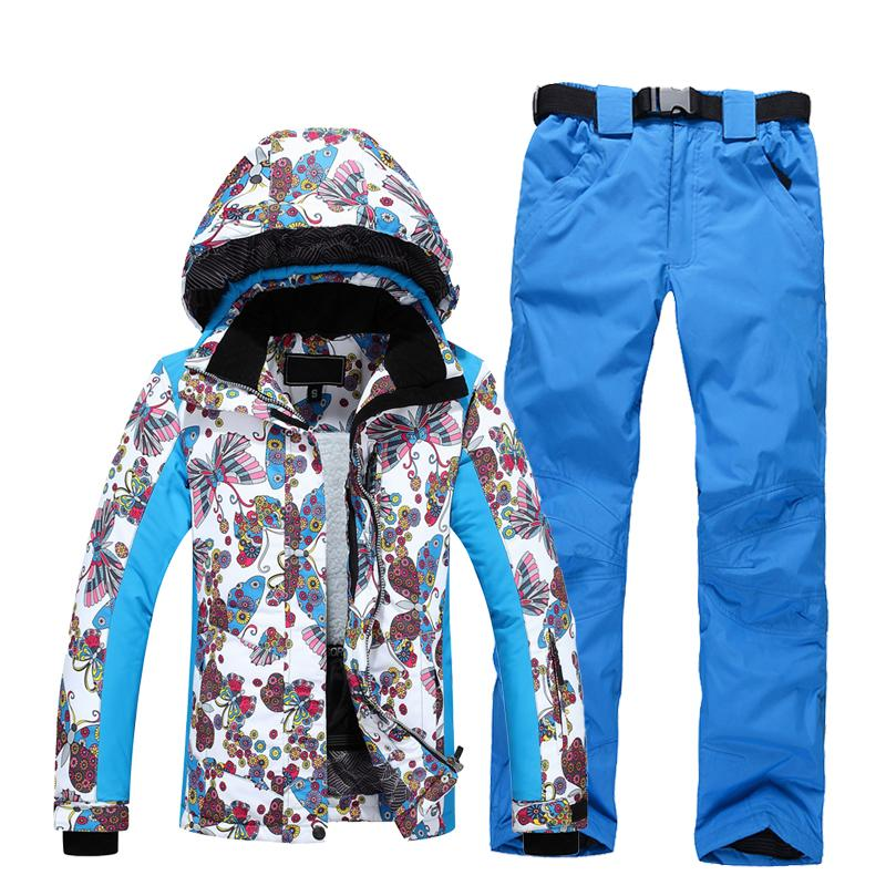 Ski Suit Women Warm Waterproof Skiing Suits Set Ladies Outdoor Sport ... 7879e9aa9