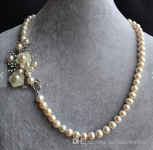 e523de6a662e07 2019 Genuine Pearl Necklace,Flower Brooch With 8 9mm White Natural  Freshwater Pearl Necklace,Fashion Woman Wedding Pearl Jewellery From  Terisajewellery, ...