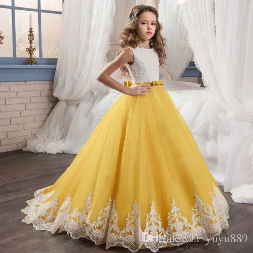 Бисером горный хрусталь Jewel шеи без рукавов маленькие девочки театрализованное платья кнопки Назад длинный тюль цветок девушки платья для свадеб