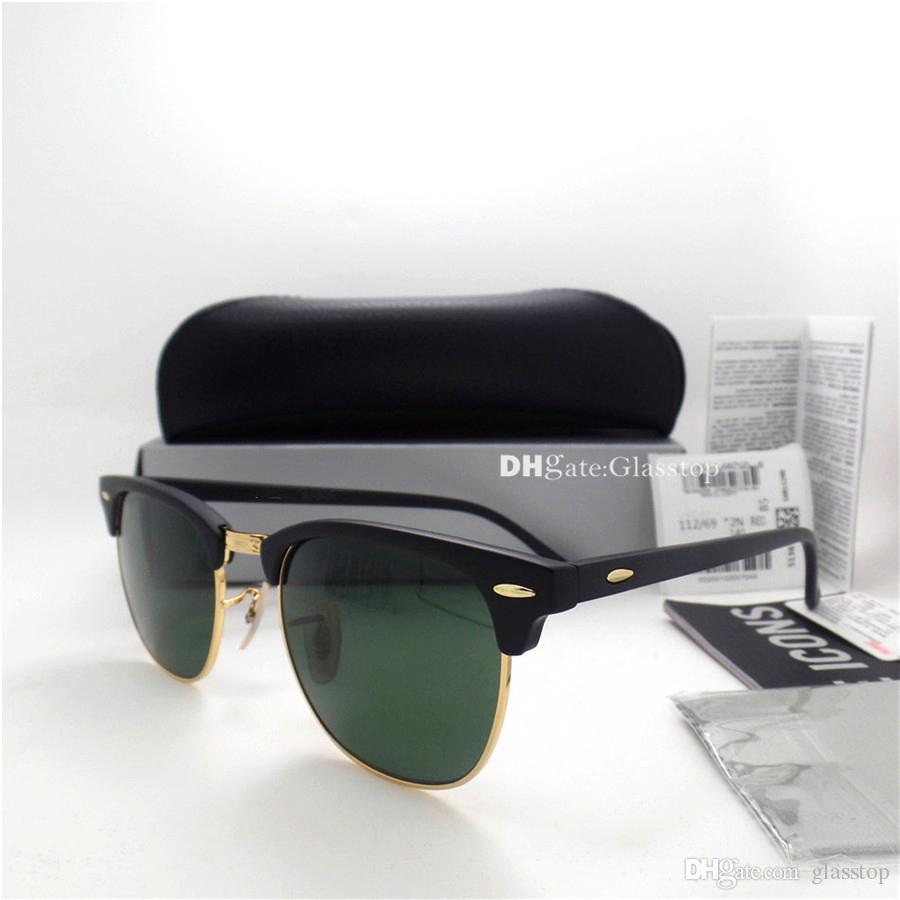 TOP Quality Glass Lens Metal Hinge Men Women Plank Frame Sunglasses UV400 51MM Half Frame Designer Vintage Shade Mercury Mirror Box Case