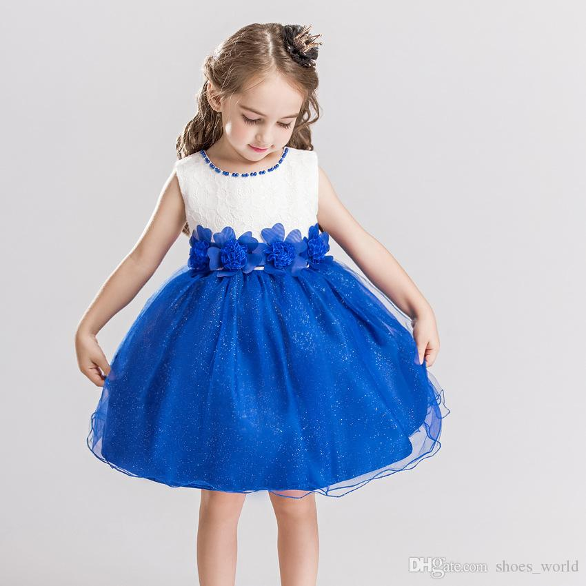Sequined Baby Girls Dress Brand Summer Style Floral Kids Pearl Beading Evening Party Dress Infant Flower Girl Lace Bow Ball Gown