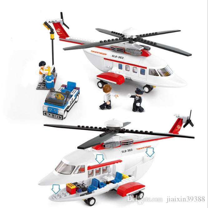 Aviation World Private Helicopter Assembled Building Blocks Children's Educational Enlightenment Toys