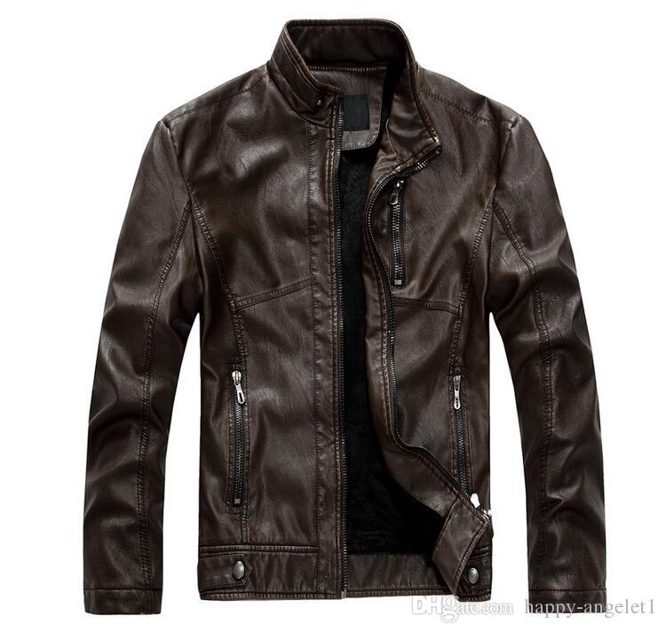 Stand Collar Fashion Vintage Style PU Leather Jacket Men Motorcycle Velet Lining Slim Fit Mens Winter Jackets And Coats