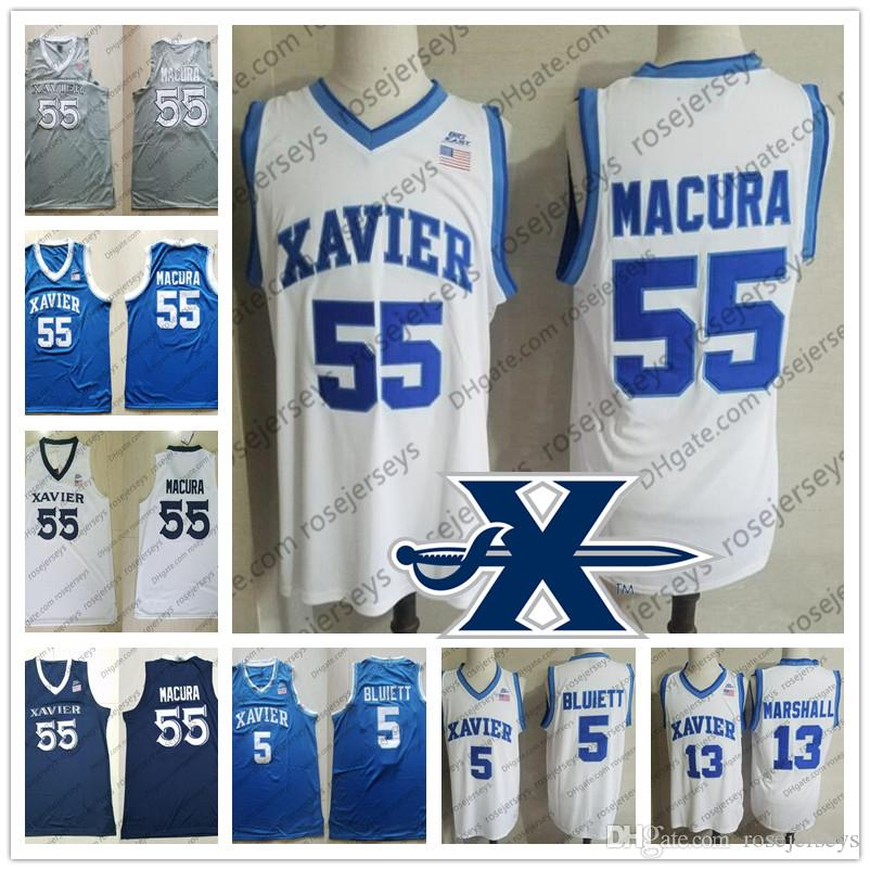 Custom Xavier Musketeers 2020 Basketball #13 Naji Marshall 4 Tyrique Jones 55 JP Macura 1 Paul Scruggs White Bue Men Youth Kid Jersey