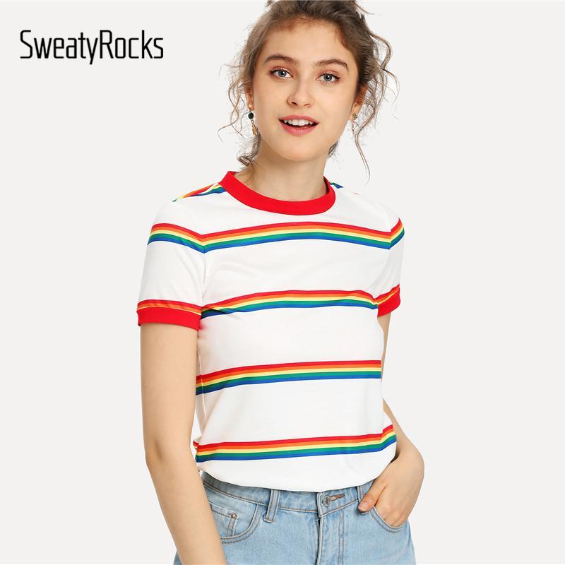 0944d1b4e7 SweatyRocks Rainbow Stripe Print T Shirt White Short Sleeve Round Neck Tee  Women Summer Stretchy Athleisure Preppy Top White T Shirt Designs Awesome T  Shirt ...
