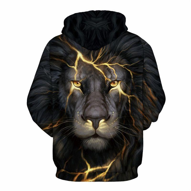 Knife Scar Lion Hooded Gothic Sweatshirt Plus Size Hot Sale Tracksuit New Arrival Streetwear Zipper Boys Sportswear Sweatshirts