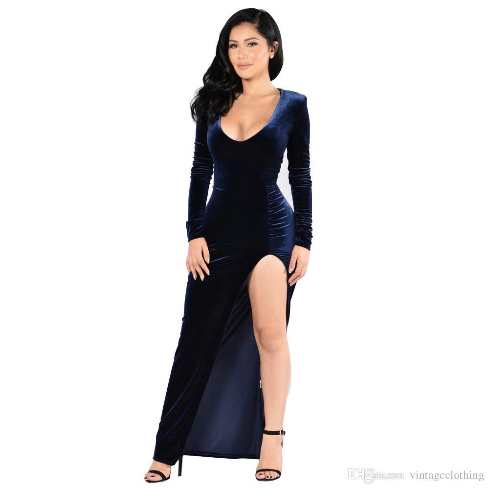 4dce661cdb4a2e Großhandel Sexy Frauen Samt V Ausschnitt Kleid Vestidos Fashion Winter  Herbst Rot Grau Kleider Clubwear Party Nachtclub Kleid Größe M 2XL Von ...