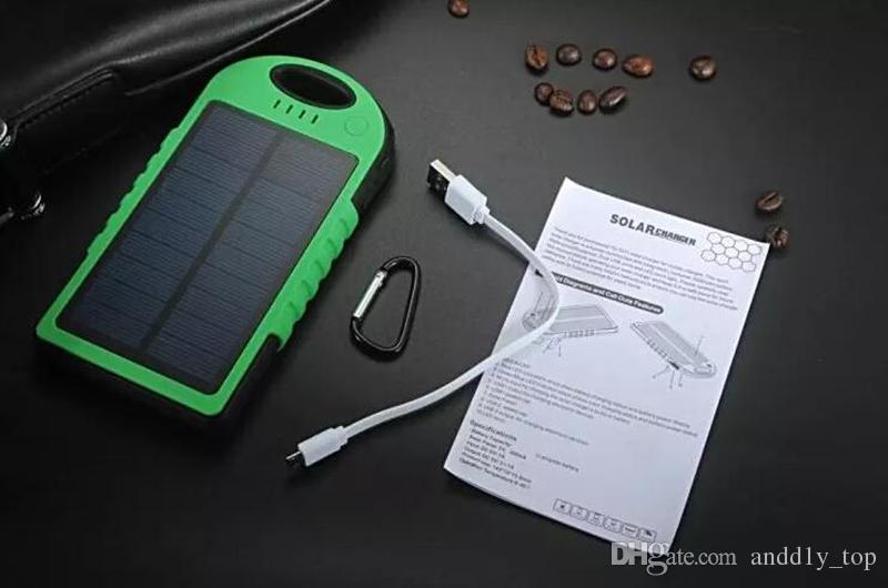 5000mAh Solarkraft Bank wasserdicht stoßfest Staubdichtes tragbare Solar-Powerbank-externe Batterie für alles intelligentes Telefon