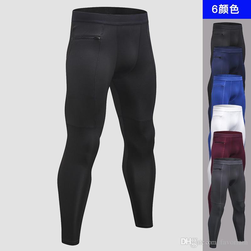 Compre Pantalones De Yoga Para Hombres Leggings De Fitness Bolsillo Con  Cremallera Pantalones De Entrenamiento Elásticos Ajustados Leggins De  Hombre De ... 4eba22043004