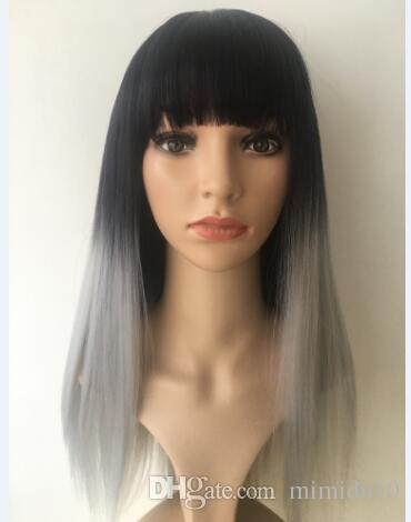 Synthetic Wig Long Straight Hair Wigs for Women Fashion Wig Ombre Black&Gray Straight Synthetic Heat Resistant Hair wigs Popular