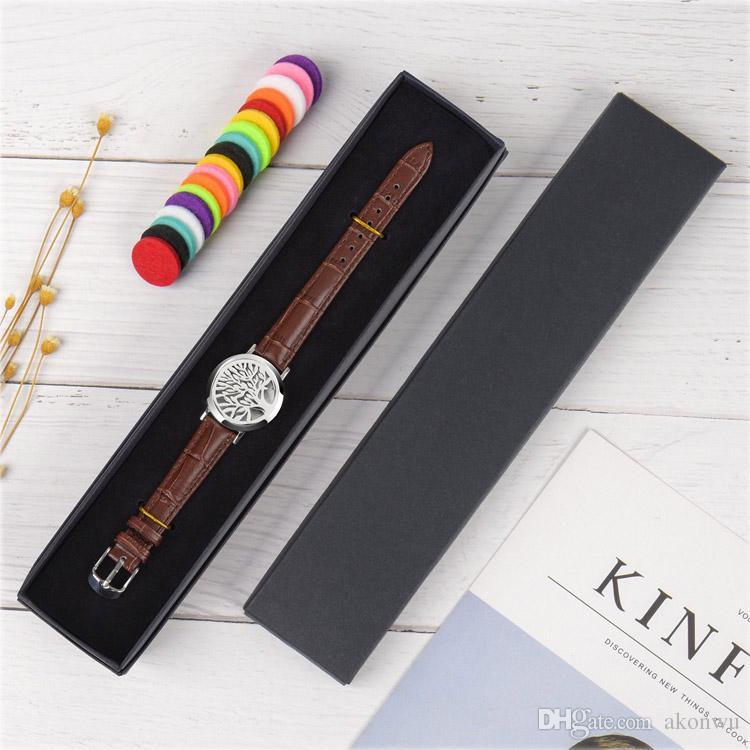 Essential Oil Diffuser Bracelet,Stainless Steel Aromatherapy Locket Bracelets Leather Band,Men Women Bracelet Gift Set