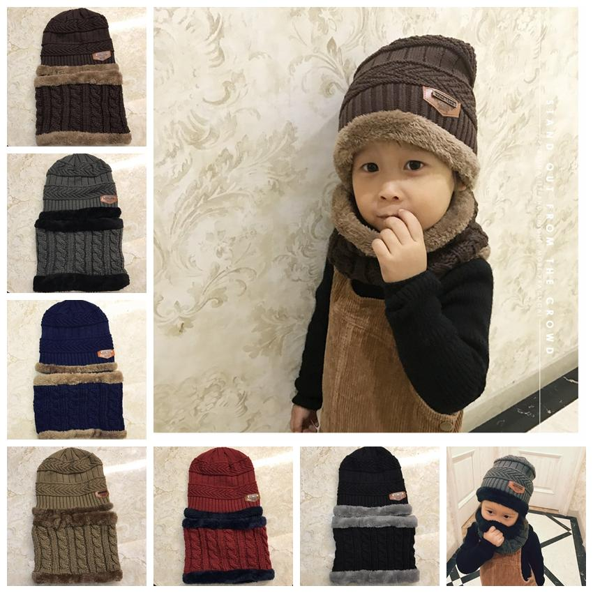 e56e65210ff86a 2019 Boys Winter Knitted Beanie Hat And Scarf Set Toddler Kids Warm Fleece  Mask Balaclava Cap Outdoor Skiing Sports Scarf Sets GGA1070 From ...