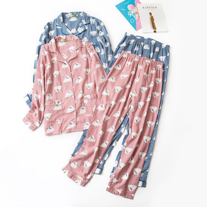 ed2bd9ef31bf 2019 Female Cute Rabbit 100% Cotton Pajamas Sets Sexy Gauze Cotton Pink  Plus Size Pyjamas Women Sleepwear Sexi Pijamas Feminino From Wangzi001