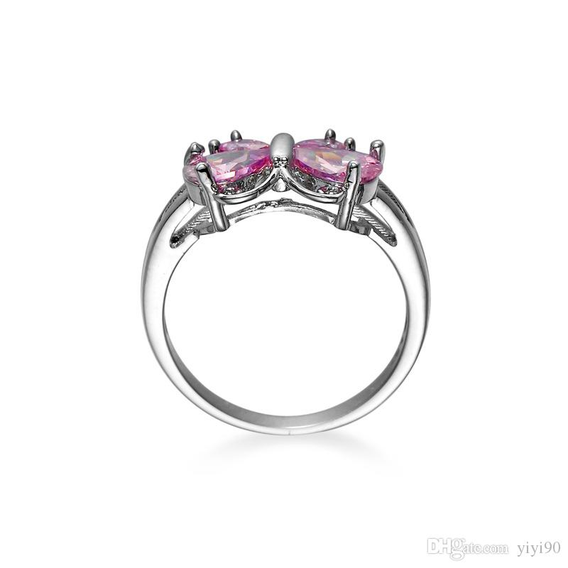 Fashion Ring Size 6/7/8/9/10 Butterfly Pink Sapphire Cubic Zirconia Gioielli da donna in oro bianco placcato