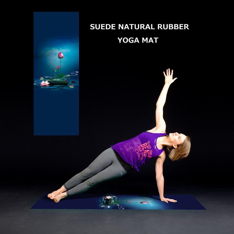 Acheter Tapis De Yoga Imprimé Lotus 1mm Naturel En Caoutchouc Suede