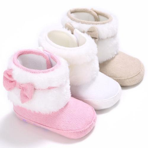 af04bbc59909 Baby Girl Bowknot Crib Boots Winter Casual Soft Sole Prewalker Warm ...