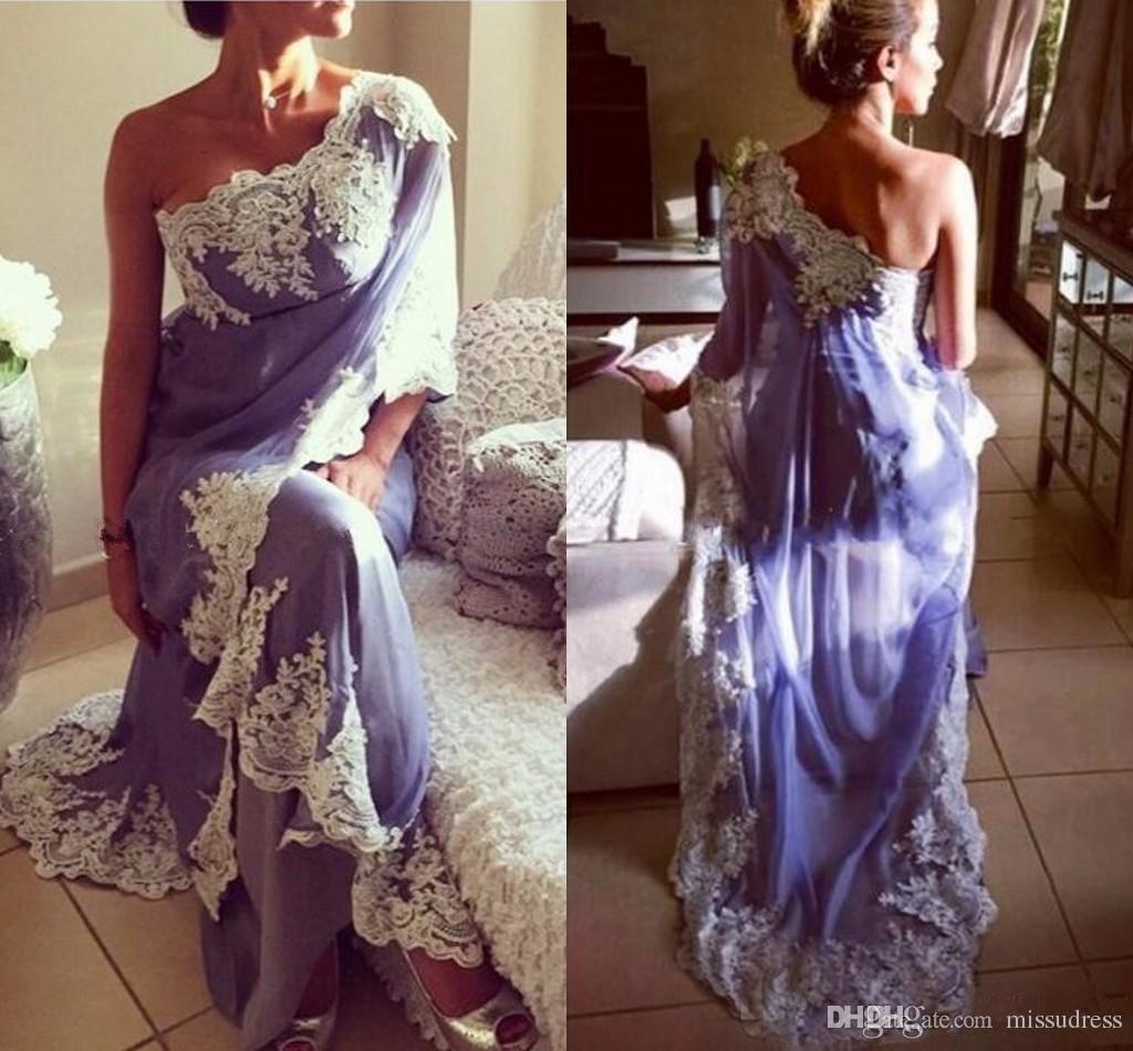 Lavanta Arapça Abiye Bir Omuz Aplikler Şifon Hint Dubai Kadınlar Örgün Abiye giyim Seksi Uzun Gelinlik Modelleri