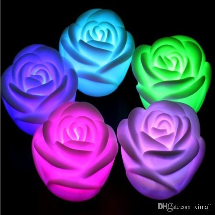 Color cambiante LED Flor de rosa Luces de velas sin humo sin llama rosas lámpara de amor decoraciones de la fiesta de navidad DHL libre