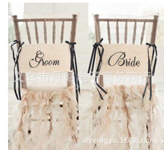 Bride & Groom Chair Sashes,39X21cm, Burlap
