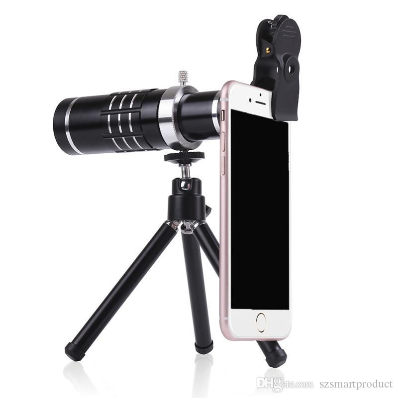 new arrivals 27759 eb70d HX-1821 Phone Camera Lenses Kit 18x Zoom Optical Telescope Telephoto Lens 3  in 1 For iPhone 8 Plus X Huawei With Tripod Clips