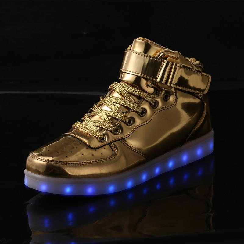 7a2d8715034bdf New Style LED Light Shoes USB Charge Gold and Silver Color High-cut Leisure Light  Up Shoes Men and Women Pu Surface Sneakers