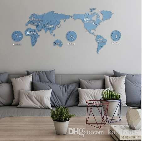 Creative World Map Wall Clock Hotel And Office Wall Decoration